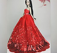 Barbie Doll Deluxe Floor-length Red Sequin Wedding Dress