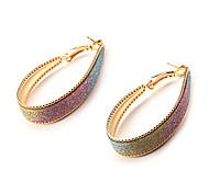 Fashion Colorful Egg Shape Golden Alloy Hoop Earrings(1 Pair)