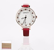 Personalized Gift New Style Women's  White Dial PU Leather  Band Analog Engraved Watch(Assorted Colors)