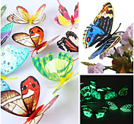 3D Emulational Luminous Butterfly PVC Wall Stickers Wall Art Decals (Random Colors,12 Pcs A Set)