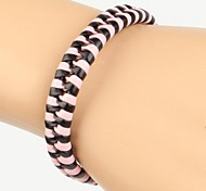 Comfortable Adjustable Women's Leather Cool Hard Bracelet Pink Black Braided Leather(1 Piece)