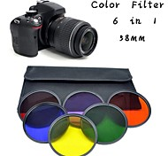 POPLAR 7pcs 58mm Color Filter FLD Orange Yellow w/ 37-58mm Adapter ring for Canon Nikon SONY Pentax Camera Lens Kit