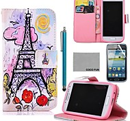 COCO FUN® Pink Purple Owl Pattern PU Leather Case with Screen Protector and Stylus for Samsung Galaxy S4 I9500