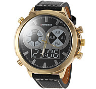 Men's Gold Big Round Case PU Band Quartz Dress Watch (Assorted Colors)