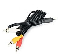 2,5 mm mini-jack male naar 3 x RCA male composiet AV-kabel - wit + zwart (1,5 m)