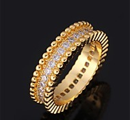 U7® Luxury Band Rings 18K Real Gold Plated Shining AAA+ CZ Stone Cubic Zirconia