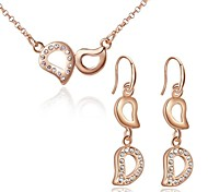 Z&X® European Style Double D Shaped Gold Plated Rhinestone Necklace And Earrings Jewelry Set (1 set)
