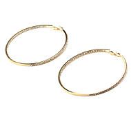 moda batter intorno strass rame dorato orecchini a cerchio (1 coppia)