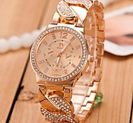 Women's Gold Steel Band with Rhinestone Quartz Analog Wrist Watch (Assorted Colors)
