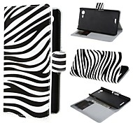 Zebra Pattern PU Leather Case Cover with Stand and Card Slot for Sony Xperia E3 D2203 D2206