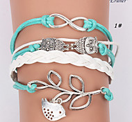 leather Charm Bracelets Eruner®Multilayer Bird Alloy Charms Handmade Leather Bracelets Jewelry