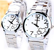 Couple's Round Dial Steel Strip Band Quartz Fashion Watch (Assorted Colors)