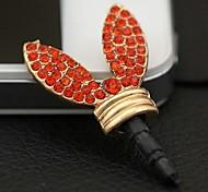 1pcs lindo orejas de conejo rhinestone 3.5mm tapa anti-polvo para el iphone y otros 6 (colores aleatorios)