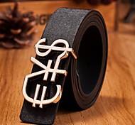 venda quente padrão de moeda símbolo de couro fivela de cinto liso moda masculina