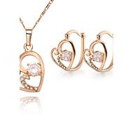 Z&X® European Style 18K Gold Plated Heartshaped Pendant Necklace Earrings Jewelry Set (1 set)