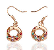 mode d'anneau-goutte or rose rose boucles d'oreilles plaqué or (or rose) (1 paire)