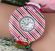 color mezclado dial grande pulsera de las mujeres de cuarzo de madera ver color mezclado (1pc)
