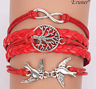 Eruner®Multilayer Red Bird Alloy Charms Handmade Leather Bracelets