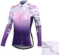Santic Women's Long Sleeve Cycling Jersey Warm Keeping Cycling Jersey with Fleece Side - Purple