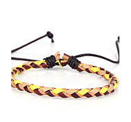 One Thin Braided Men's Leather Bracelet With Yellow Beige Leather (1 Piece)