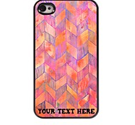 Personalized Phone Case - Pink Waveform Design Metal Case for iPhone 4/4S