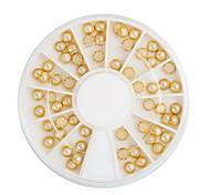 60 Pcs New Nail Jewelry 4mm Metal Edging Small Golden Pearls Decoration Kits