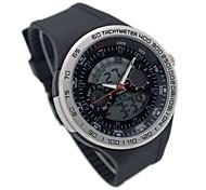 hy-5 bande de silicone de mode cadran rond quartz hommes& double veille poignet d'affichage numérique (1 x CR2016)