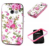 2-in-1 Pink Rose Peony Pattern TPU Back Cover with PC Bumper Shockproof Soft Case for Samsung  ACE 4 G313H