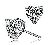 925 Sterling Silver Heart-Shaped Diamond Stud Earrings