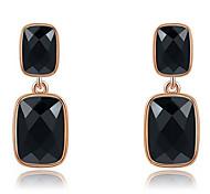 Roxi® Rose Black Czech Retangle Shape Big Size Stud Earring