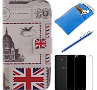 British Style Design PU Leather Full Body Case with Stylus、Protective Film and Soft Pouch for LG L80