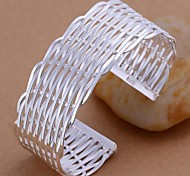 Flat Woven Mesh Silver Plated Bracelet