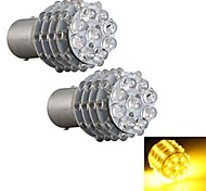 2PCS Car 1157 BA15S Turn Signal Parking Tail Bulb Lamp Yellow 45 LED Light 12V