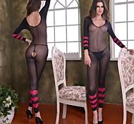 Black erotic kombidress with pink stripes Nightwear