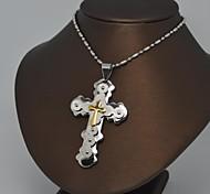 o aço inoxidável colar de pingente de cruz de ouro prata clássico