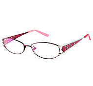 [Free Lenses] Women's Metal Oval Full-Rim Fashion Prescription Eyeglasses