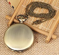Unisex Vintage Bronze Mirror Round Dial Flip Alloy Quartz Necklace Watch Green Patina (1Pc)
