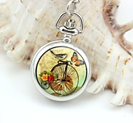 Personalized Butterflies Birds Pattern Pocket Watch Silver Enamel Metal Lanyards