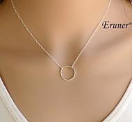Eruner® Classic Circle Shape Alloy Pendant Necklace