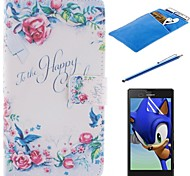 The Rose Design PU Leather Full Body Case with Stylus、Protective Film and Soft Pouch for Sony Xperia T3