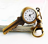 Women's  Brass Key Dial Alloy Band Quartz Keychain Watch