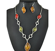 Vintage Colorful Drop Amber Necklace& Earrings Jewelry Set