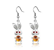 Big Ear Rabbit Lady's Drop Earring Plated with 18K True Platinum Topaz Crystallized Austrian Crystal Rhinestone