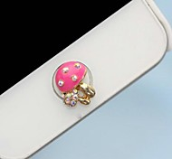 1Pcs Small Mushrooms Rhinestone 1cm Buttons Stickers for iPhone and Others(Random Color)