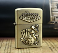 Personalized Engrave Beauty Dice Pattern Gold Metal Oil Lighter