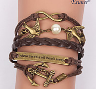 Eruner®Multilayer Pearl Bird Alloy Charms Handmade Leather Bracelets