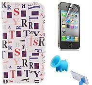 colorer le modèle de lettres cuir PU couverture complète du corps avec le porc reposer et film de protection pour iPhone 4 / 4S