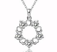 Fine Jewelry 925 Sterling Silver Jewelry Geometric Heart Shape with Zircon Pendant Necklace for Women