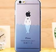 Fashion Transparent Cartoon Sealion TPU Soft Case for iPhone 6