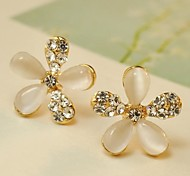 Han Edition Fashion Five Petals Diamond Earrings